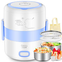 Small raccoon electric lunch box heating plug-in two-layer 304 stainless steel insulation mini double-layer automatic steaming hot rice cooker