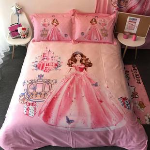 恋人 水星家纺全棉四件套芭比纯棉儿童床上用品三4件套女孩床品3
