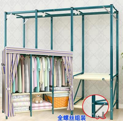 简约现代双人经济型布艺布衣柜组装钢架加固钢管加粗简易收纳布柜品牌资讯