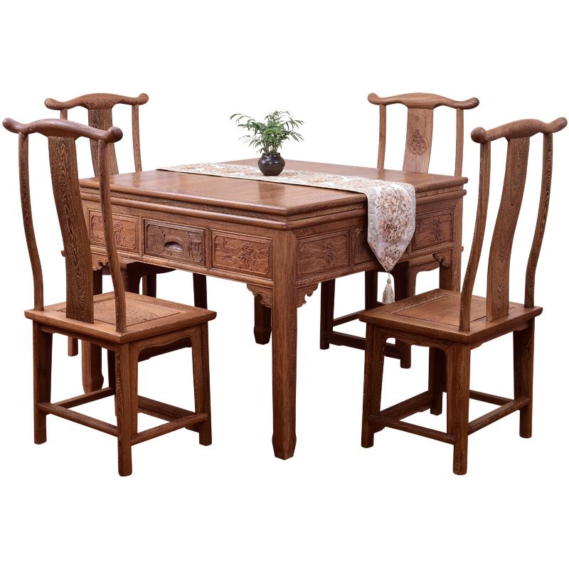 红木家具客厅鸡翅木全自动中式麻将桌餐桌两用家用实木电动麻将机