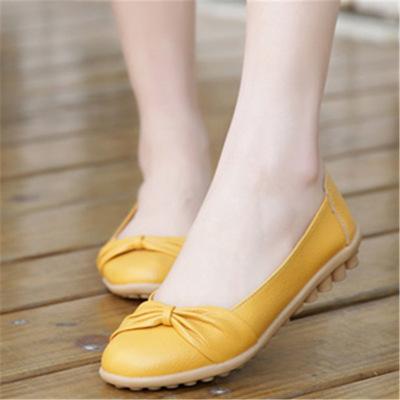 春秋穿真皮平底鞋平跟软底舒适豆豆鞋中老年女单鞋修闲鞋女式皮鞋