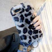 豹纹毛绒苹果8plus手机壳新款iphone7保护套全包6plus防摔7p潮牌女抖音网红同款冬天
