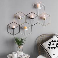 北欧复古浪漫家用创意铁艺烛台欧式现代简约立体几何壁挂蜡烛台