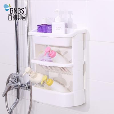 吸壁式浴室置物架免打孔斜放式厨房卫生间储物架挂壁卫浴收纳架