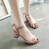 小清新高跟鞋少女凉鞋女2019夏季新款一字扣带粗跟百搭学生配裙子