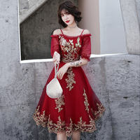 Toast clothing bride 2019 spring new red cheongsam wedding thank you feast evening dress skirt female was thin in the long section