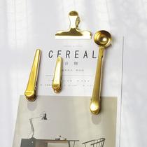 北欧黄铜色封口夹咖啡勺 二合一勺子夹量匙奶粉勺咖啡茶匙