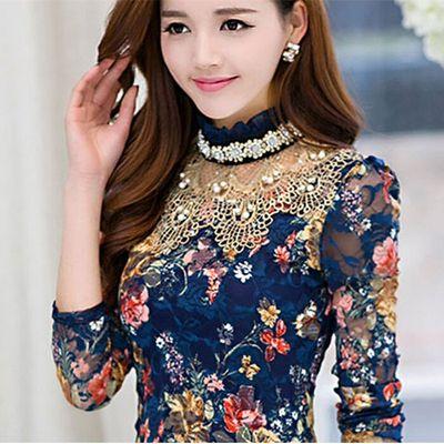 冬装女装大码加绒加厚高领打底衫秋衣外穿上衣女士长袖T恤蕾丝衫
