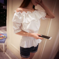 Yy webcast clothing female anchor on the mirror clothes ruffled sexy word collar strapless chiffon shirt tide