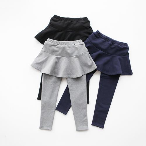 女童裙裤冬季2017欧美新款品质童装纯棉纯色加绒长裤裙摆厚打底裤