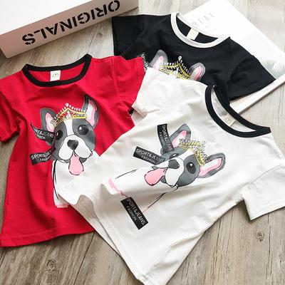 中小童2018夏季新款爆款狗狗卡通女童短袖T恤2-8岁儿童半袖上衣潮