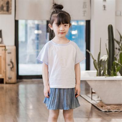 熊和荷包蛋童装女童半身裙纯棉夏季薄款百褶裙儿童宽松文艺范短裙