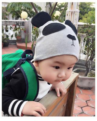 卡通圆顶熊猫帽男童韩版婴儿套头帽女童春季0-3岁宝宝帽子春季潮
