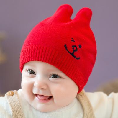2018新款韩国儿童帽秋冬款婴儿针织帽小兔卡通兔耳朵男女宝宝帽子