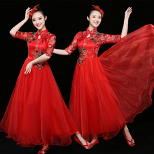 New Opening Stage Garments for 2019 Women in Modern Classical Chinese Style Dance Dresses, Big Dresses and Long Skirts for Adults