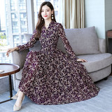 Middle-aged early autumn new dress female 2019 women's young mother long-sleeved temperament chiffon long skirt