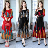 Trend mother dress fashion chiffon dress female 2019 autumn new middle-aged large size V-neck print dress