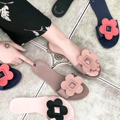 2018新款韩国花朵夏季甜美女鞋平底凉鞋沙滩鞋露趾果冻学生凉拖鞋