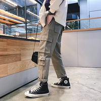 Ins super fire pants men's tide brand port-Aberdeen trend loose art ulzzang autumn casual pants overalls