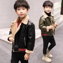 男童皮衣外套2018冬季新款儿童羊羔绒夹克中大童加绒加厚韩版潮装