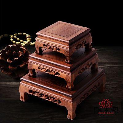 紅木雕刻工藝品佛像擺件底座雞翅木質長方形花瓶奇石頭底座實木托是什么牌子