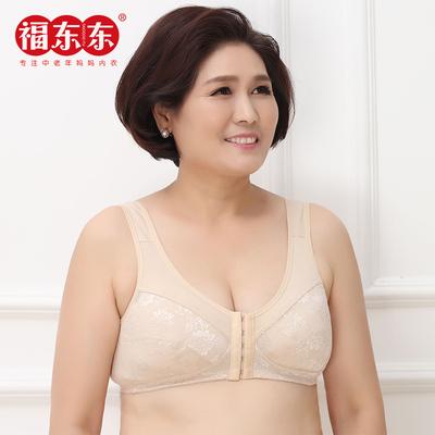 福东东2件装夏中老文胸无钢圈大码前挂钩妈妈蕾丝天然彩棉有薄棉