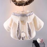 女童毛绒外套2018新款女孩子冬装儿童冬款女宝宝上衣婴儿夹克服装