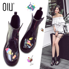 新款时尚雨鞋女韩版中筒防水成人防滑可爱套鞋胶鞋马丁雨靴女潮流