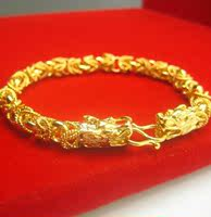 New Hong Kong Genuine 24K Gold Bracelet Domineering Double Faucet Bracelet 99 Men and Women Thick Gold Specials
