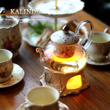Flower tea set family glass European ceramic candle heating boiled fruit teapot afternoon teacup