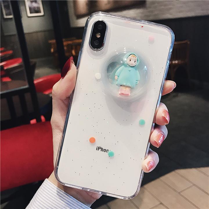 可愛小女孩蘋果x手機殼iPhone7plus軟殼6s/8/XS MAX/XR液體水晶球