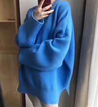 Candy-colored sweater female autumn and winter sets of loose large size Korean students bf wind sweater lazy wind sweater wear
