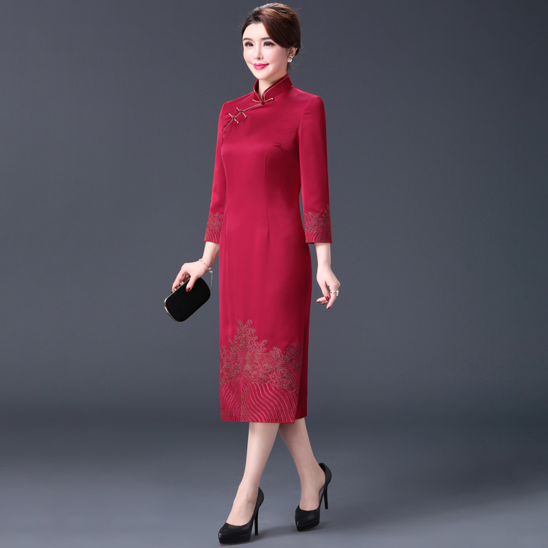2018 autumn new Chinese style cheongsam female hi mother wedding mother dress high
