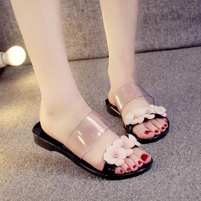 2016夏季新款水晶果冻凉鞋女鞋塑胶鞋沙滩鞋女鞋雨鞋花朵平底拖鞋