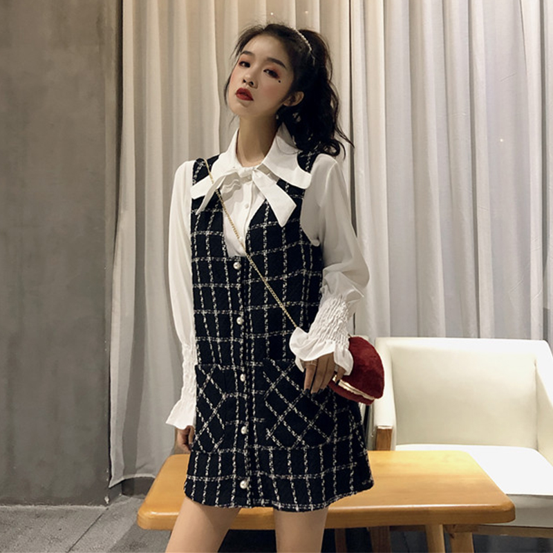 Autumn and winter new women's fashion retro flower sleeves tie shirt + small fragrance style hair