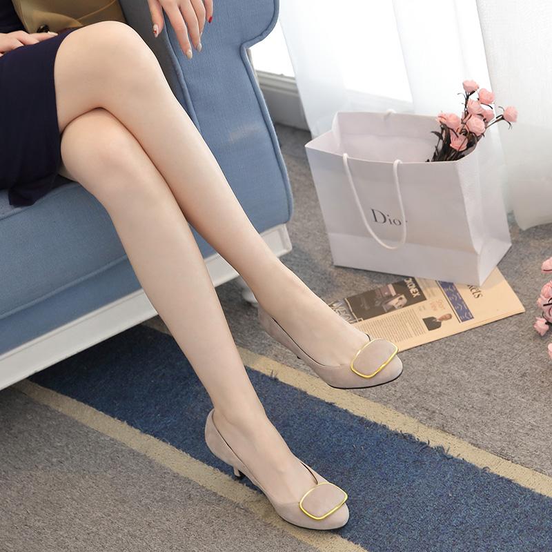 女士真皮半高跟鞋