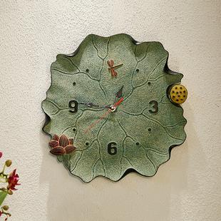 饰挂钟静音客厅家用卧室电池钟表挂件荷花鱼壁饰简约 创意新中式装