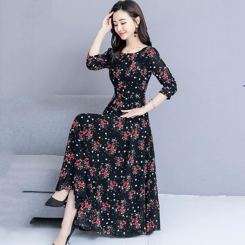 大码2019新款女装长裙子名媛气质时尚长袖春碎花长款雪纺连衣裙