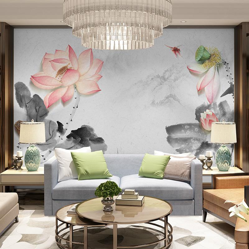 新中式壁纸卧室客厅电视背景墙无缝墙布手绘牡丹定制壁画影视墙纸
