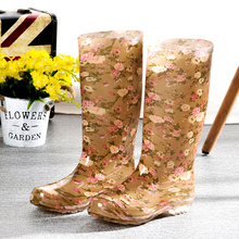 Spring and Autumn Yellow Flower High Canister Lady's Rain Boots Waterproof and Slip-proof Long Canister Water Shoes Kitchen Mother's Labor-Protected Rubber Shoes Cover Shoes to Keep Warm
