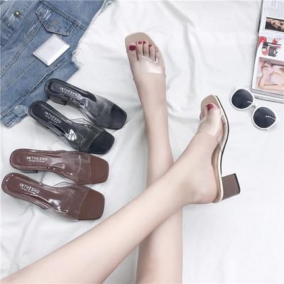 高跟粗跟凉拖鞋女式凉鞋透明胶一字拖时尚2017新款女鞋夏季露趾