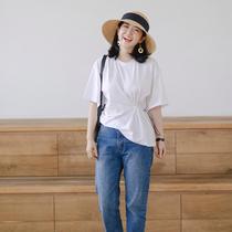 T恤女休闲系带收腰优雅2019夏短袖百搭T恤三木三呢同款