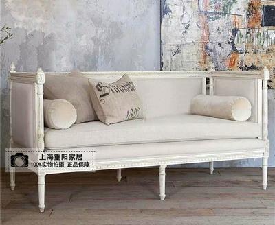 美式法式实木雕花布艺双人三人位沙发椅复古做旧影楼设计师家具排行