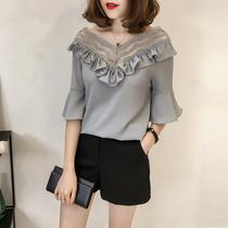 加肥加大码女装夏季超仙蕾丝短袖t恤心机上衣胖mm宽松遮肚雪纺衫
