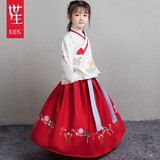 Chinese New Year's Dresses for Girls, Children and Children in Ancient Chinese Dresses in Autumn, Winter and Ming Dynasties