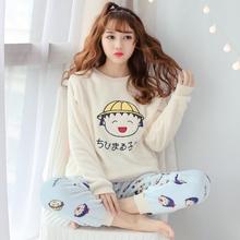 春秋冬季睡衣女法兰绒学生卡通可爱套装韩版加厚保暖珊瑚绒家居服