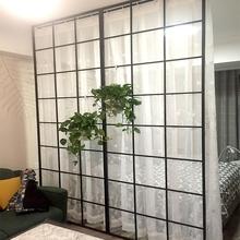 北欧铁艺玻璃隔断 客厅玄关现代简约镂空屏风 卧室房间隔断墙装饰