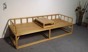 老榆木实木家具免漆罗汉床现代中式贵妃榻卯榫单人床沙发黑胡桃