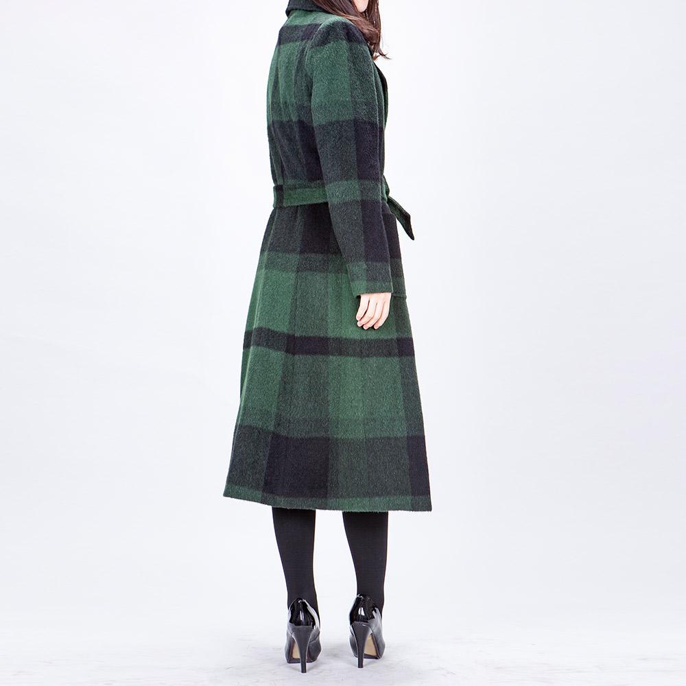 白领黑绿格羊毛西服领贴袋暗门襟系带加棉胆长大衣HEILVM16-901+M
