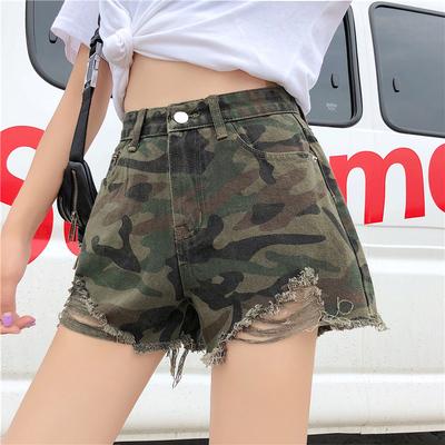 2018夏季新款韩版显瘦毛边破洞牛仔裤女高腰短裤迷彩阔腿裤热裤子